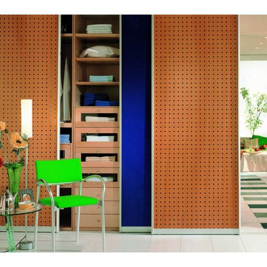 FIORE bambusz furnéros perforált lemez, natúr, 1240 x 600 x 4 mm - egy oldalon furnérozott