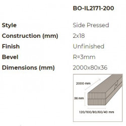 N-Finity impregnált kültéri bambusz léc 2000*80*36 mm