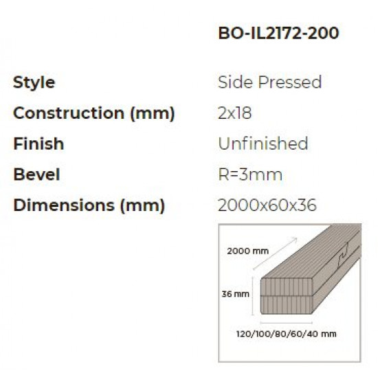 N-Finity impregnált kültéri bambusz léc 2000*60*36 mm