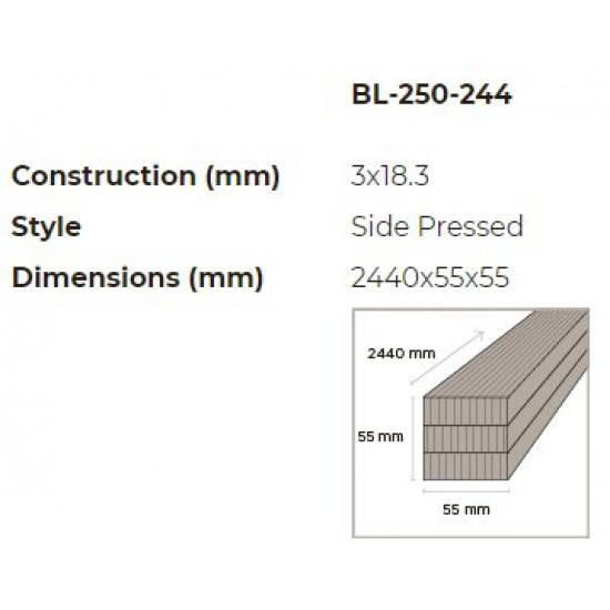 Bambusz gerenda: vertikális minta, kávébarna (gőzölt) szín,  2440*55*55 mm