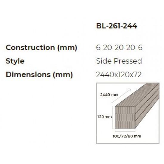 Bambusz gerenda: vertikális minta, kávébarna (gőzölt) szín,  2440*120*72 mm
